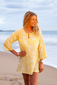 Coral Reef Cotton Beach Tunic-Lemon