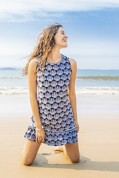 Seashell Cotton Ruffle Dress