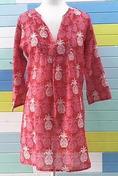 Tango Cotton Beach Tunic-Red