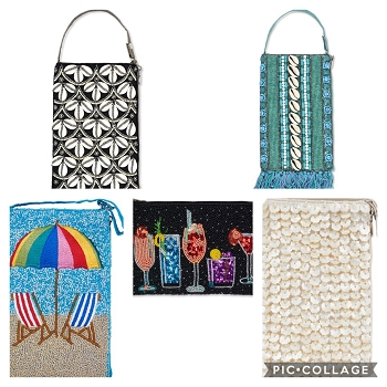 Sequin and Shell Club Bags